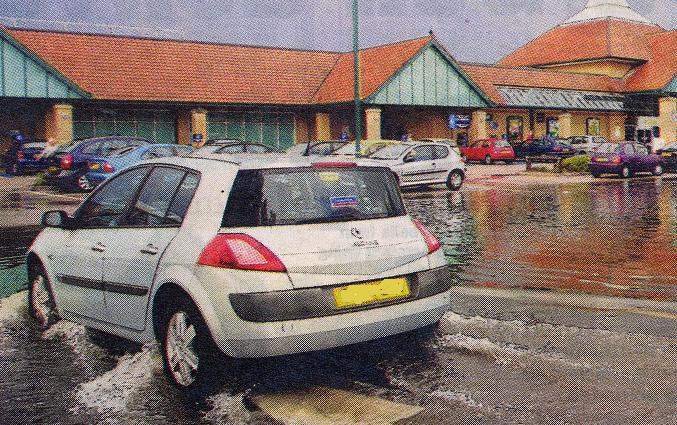 The flooded car park of Morrisons in Northampton 18 August 2006.