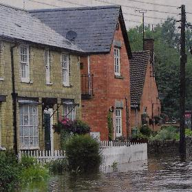 The flooded High Street in Helmdon, Northants on 20th July 2007.