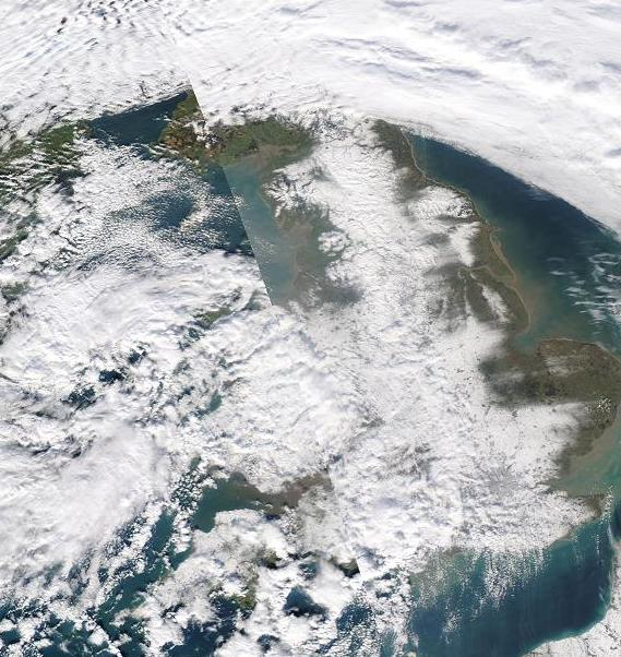 Click here to enlarge satellite image of the snow field on 3rd February 2009.