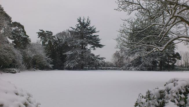 Winter wonderland at Pitsford Hall with 15cm of lying snow.. 21st January 2013.